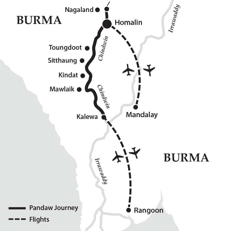 Reise auf dem Chindwin zum Nagaland