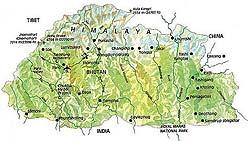 Landkarte Bhutan