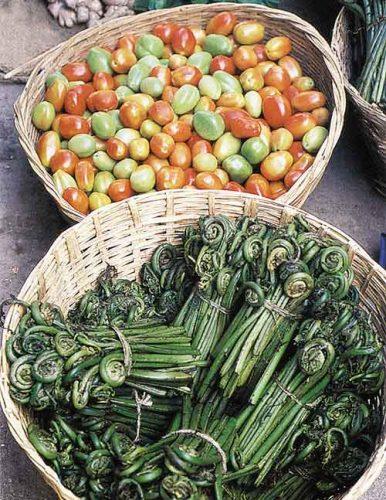 Food in Bhutan auf dem Markt