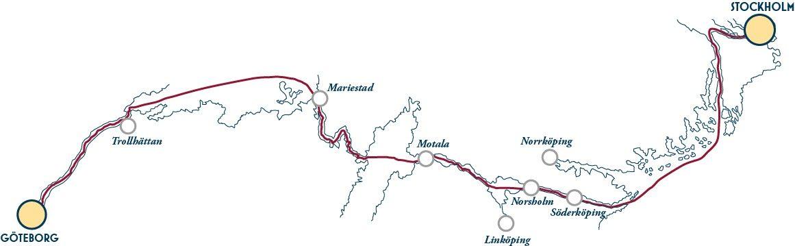 Klassische Kanalreise Karte Göta Kanal von Göteborg nach Stockholm