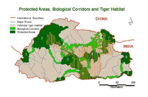 Landkarte Geschützte Gebiete in Bhutan